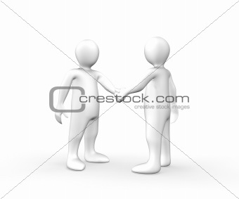 3d men shaking hands