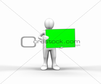 3d man holding a blank panel