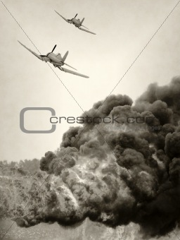 Old airplane in fight