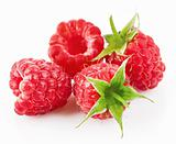 raspberry berries with green leaf