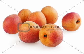 Fresh apricots isolated on a white background