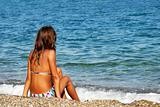 Girl on seashore
