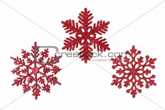 Three red glitter snowflakes