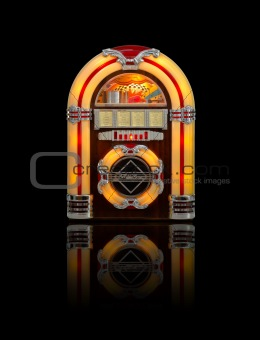 Old Juke box radio isolated on black