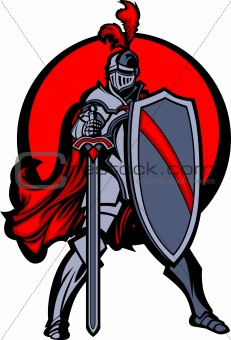 Knight Mascot with Sword and Shield