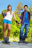 Couple on roller skates