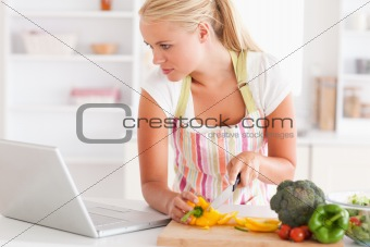 Close up of a woman using a laptop to cook