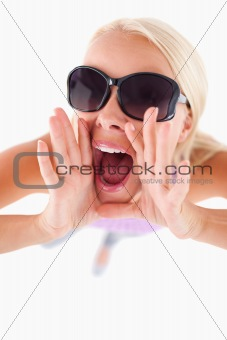 Charming lady with sunglasses in high spirits