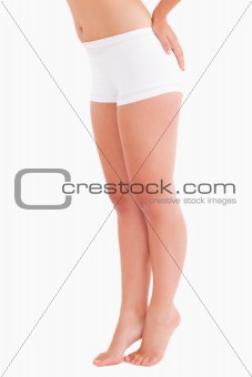 Fit woman posing in underwear