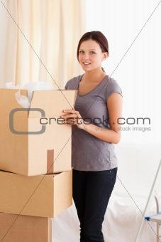 Female packing cardboard