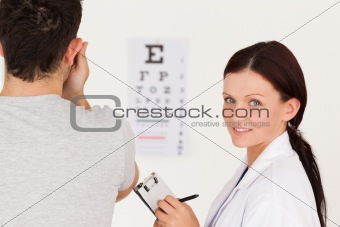 Optician and a patient