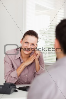 Businesswoman talking with someone