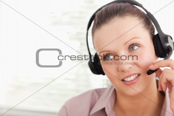An operator with headset helping someone
