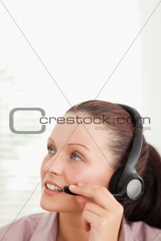 Close up of an operator in office