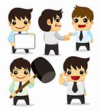 4 funny cartoon office worker set ,icons
