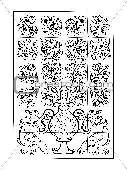 Old tiles portuguese background, vector illustration