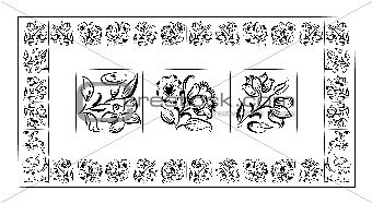 Old tiles portuguese frame, vector illustration
