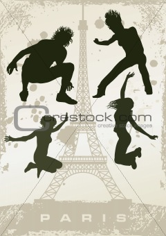 grunge Paris postcard