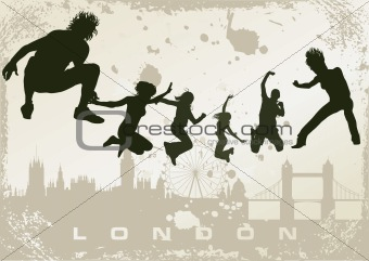 grunge London postcard