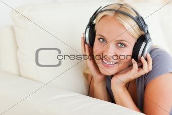 Blonde woman enjoying some music