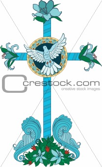Cross consists of flowers and leaves  on beams background