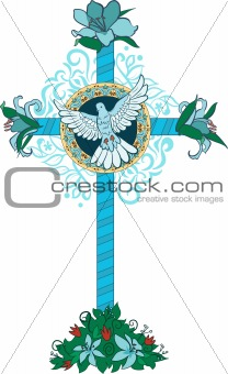 Cross with pigeon