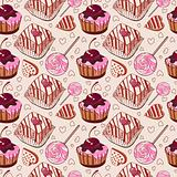 Sweet pattern with cakes