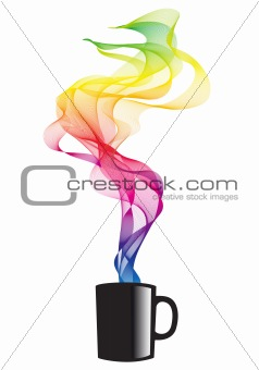 coffee with smoke, vector