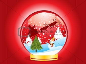 abstract christmas globe  with ice man
