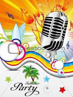 abstract colorful musical background with summer theme