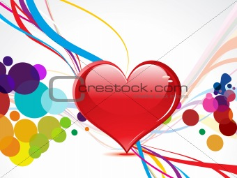abstract colorful heart with wave