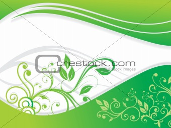 abstract green floral with wave