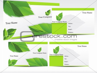 abstract green leaf business card