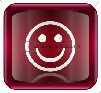 Smiley Face red, isolated on white background
