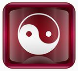 yin yang symbol icon red, isolated on white background