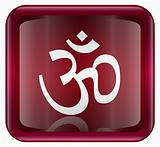 Om Symbol icon red, isolated on white background