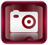 Camera icon red, isolated on white background
