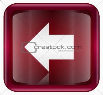 Arrow left icon red, isolated on white background
