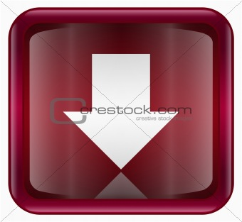 Arrow down icon red, isolated on white background