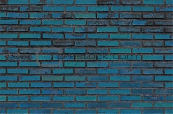 blue paint old grunge brick wall
