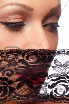 beautiful woman in a black veil