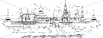 Russian Monastery and river, vector illustration