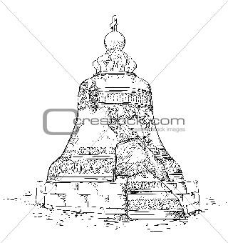 Image description: big bell in moscow kremlin. vector illustration