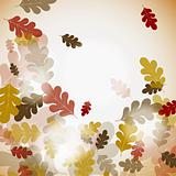 Oak autumn background, vector