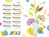 Abstract floral calendar 2012, illustration