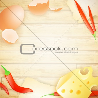 food frame at wooden background