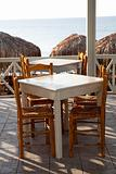 Restaurant tables in Perissa, Santorini, Greece