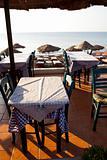 Restaurant tables in Perissa, Santorini, Greece