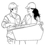 Drawing black and white young architects. Vector illustration