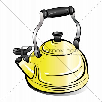 drawing of the yellow teapot kettle, vector illustration